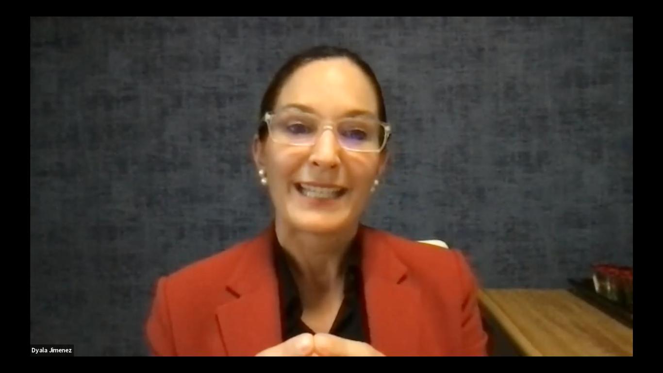 Dyalá Jiménez, exministra de Comercio Exterior de Costa Rica, consultora y abogada especializada en arbitraje internacional, tuvo a cargo la charla introductoria.